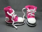Cerise Converse style baby booties